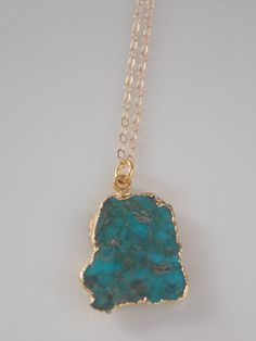 Petite Raw Turquoise Slice Necklace with Gold by MalieCreations, $30.00