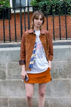 - A vintage tee, tonal suede topped and a printed neckscarf is the new model off-duty uniform.