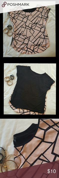 G E O M E T R I C   Pink Blouse Super comfy black and light pink geometric patterns.. great condition . Goes well with jeans for a casual day or tuck in a skirt for office or evening wear =} espresso Tops Blouses