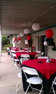 Casino theme birthday ideas like the double layer table cloths for food table