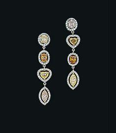 A pair of coloured diamond and diamond pendant earrings