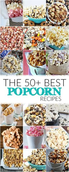 More than 50 incredible popcorn recipes including Samoas Popcorn, Twix Popcorn, Classic Kettle Corn, and Moose Munch Copycat.