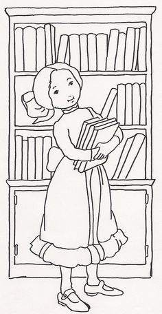 Girl w Books at Bookcase by JenineMD, via Flickr