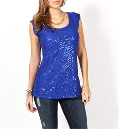 Royal Blue Lace Sequin Top