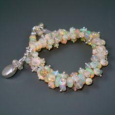 Opal Bracelet Ethiopian Fire Opals Opal Cluster by JewelryByJacoby