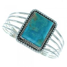 Turquoise Native American Genuine Sterling Silver Cuff Bracelet www.silvertribe.com