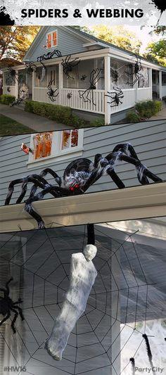 Halloween Cobwebs Spiders DIY Beef Netting holiday Pinterest - giant spider halloween decoration