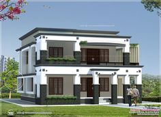 elevations of single storey residential buildings - Google Search Ceiling Color Design, House Ceiling Design, Home Ceiling, House Front Design, Roof Design, Modern House Design, Design Living Room, Kerala House Design, House Elevation