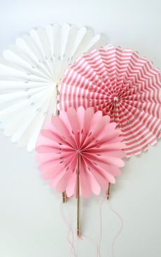 Pink Paper Fans | Pink Paper Decorations - Pink Frosting Party Decorations; in lavender - they look like lollipops!
