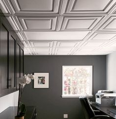 This office drop ceiling is anything but basic with our beautiful Stratford Ceiling Tiles in White.