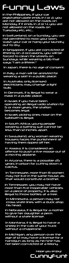 I wonder if people from these places ever see this. If so, please clear this up for us idiots. Most of it just seems like common sense. Are these laws true? Thank you in advance=) Funny Laws, In Laws Humor, Dumb Facts, True Facts, Random Facts, Snapple Facts, Weird Laws, Law Abiding Citizen, Teaching History