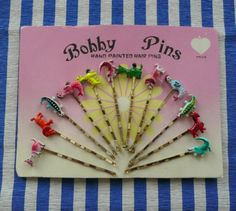 Vintage set of 12 decorated Bobby Pins.