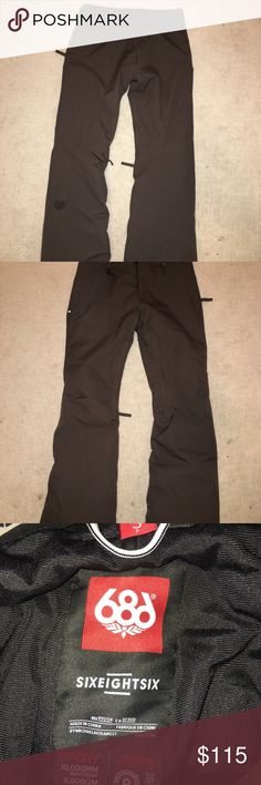 686 Small Ski/board Pants Brand new ski/snowboarding pants for sale! I wore these once so they are in brand new condition, but unfortunately, they are too big for me!  They are dark brown, medium thickness, and besides being too big for me, extremely comfortable. They are $200 online. Here's the link: https://www.686.com/collections/womens-snow-pants-collection/products/686-womens-after-dark-pant?variant=50239164550 but mine are dark brown. 686 Pants Track Pants & Joggers
