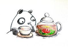 【一日一パンダ】 2014.7.8 中国茶にはお湯を注いだら花が咲くものもあるよ。 花茶と呼ばれる工芸茶でジャスミン茶が有名だね。 #中国茶