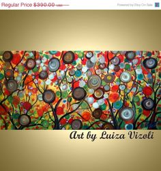 Abstract Whimsical Large Landscape Tree of Life by LUIZAVIZOLI   48x24