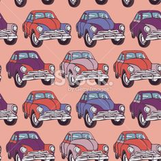 Seamless car pattern. Sketch. Pink, lilac, purple. vector Royalty Free Stock Vector Art Illustration