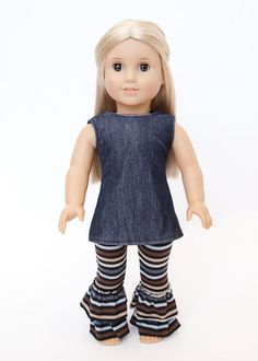 American Girl Doll clothes - blue tunic and striped ruffle pants on Etsy, $18.00