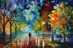 Paintings by Leonid Afremov. I saw one and had to figure out the artist's name so I could look him up. These are AMAZING!!