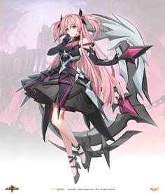 그랜드체이스 카페톡 Elsword, Monster Girl, Character Drawing, Anime Art, Sci Fi, Kawaii, Gallery, Drawings, Cute