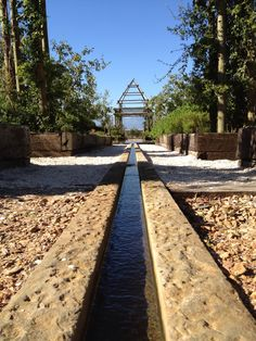 Water feature at Babylonstoren, Western Cape, South Africa. A vast and formally laid out vegetable garden. Very beautiful in itself and setting magnificent