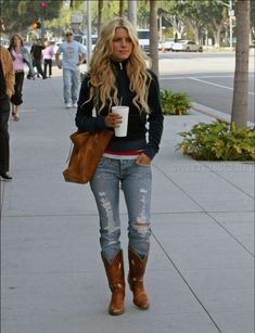 Take a look at the best jessica simpson outfits in the photos below and get ideas for your cute outfits! Jessica Simpson wearing Dingo Acme Boots Juicy Couture Dog Velour Zip Jacket in Navy Nation Ltd. Jessica Simpsons, Country Outfits, Winter Outfits, Casual Outfits, Cute Outfits, Modest Outfits, Skirt Outfits, Star Fashion, Love Fashion