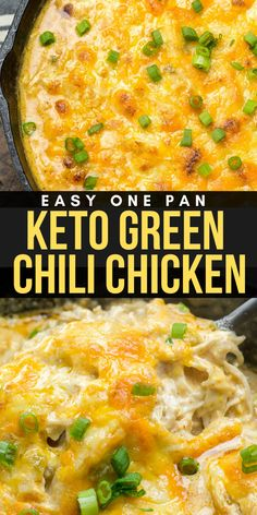 This easy One Pan Keto Green Chili Chicken is the ultimate cheesy low carb casserole At under 4 net carbs per serving this will be a weekly staple on your keto diet keto chicken onepan Healthy Low Carb Recipes, Ketogenic Recipes, Healthy Foods To Eat, Diet Recipes, Low Carb Chili Recipe, Diet Meals, Diet Foods, Chili Recipes, Muffin Recipes