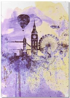 London Watercolor Skyline 2 als Notepad von Naxart | JUNIQE