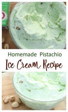 The only homemade pistachio ice cream recipe you'll ever need - homemade ice cream - Helados Ice Cream Treats, Ice Cream Desserts, Frozen Desserts, Frozen Treats, Ice Cream Cakes, Keto Eis, Pistachio Cream, Pistachio Pudding Ice Cream Recipe, Pistachio Recipes