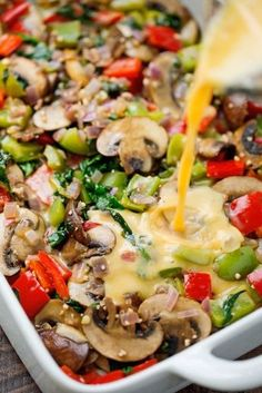 Veggie Loaded Breakfast Casserole - colorful and very nutritious. This recipe with mushrooms, peppers, onion, potatoes and spinach with eggs. You can add meat and veggies of your choice. Tasty and crunchy in every bite! Vegetarian Breakfast Casserole, Breakfast Dishes, Breakfast Time, Best Breakfast, Breakfast Ideas, Breakfast Recipes, Morning Food, Veggie Dishes, Brunch Recipes