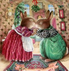 Kissing bunnies. Under the mistletoe. Susan Wheeler