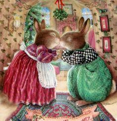 Kissing bunnies. Under the mistletoe. Susan Wheeler