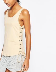 Image 3 of Story Of Lola Drop Armhole Vest With Lace Up Detail