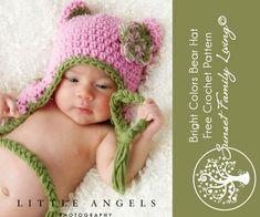 Bright Colors Bear Hat Free Crochet Pattern
