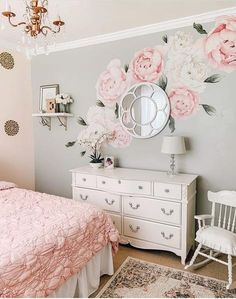Incredible 16 Beegcom Best Quality Online Furniture Store, Home Decor Online Worldwide Shipping Flower Wall Decals, Nursery Wall Decals, Bedroom Wall, Kids Bedroom, Girls Flower Bedroom, Bedroom Flowers, Bedroom Ideas, Nursery Stickers, Nursery Room