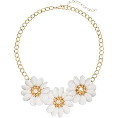 White Teardrop Petal Flower Necklace (440 UYU) ❤ liked on Polyvore featuring jewelry, necklaces, white, nickel free jewelry, white necklaces, blossom jewelry, floral jewelry and white flower necklace