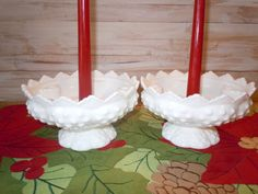 Vintage Milk Glass Hobnail Candle Holders by AugustMoonVintage