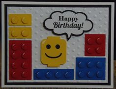 Lego Card - Craft with Bee: Silhouette Sunday Lego Birthday Cards, Homemade Birthday Cards, Birthday Cards For Boys, Happy Birthday Cards, Homemade Cards, Baby Boy Cards Handmade, Baby Cards, Cricut Cards, Bee Silhouette