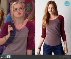 Maddie's grey tee with red sleeves on Liv and Maddie.  Outfit Details: http://wornontv.net/50739/ #LivandMaddie