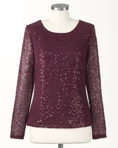 Coldwater Creek Ornate sequin wine blouse in Holiday 2012 from Coldwater Creek on shop.CatalogSpree.com, my personal digital mall.