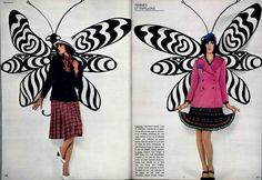 Editorial by Patrick Bertrand, with butterflies painted by Claude Poulain, from L'Officiel 590, 1972.