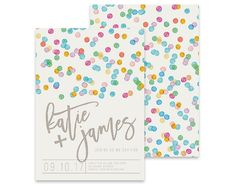 Colourful Wedding Invitation | Confetti | Printable DIY Invite, Affordable Wedding Invitation | Rainbow Spots, Watercolour Polka Dots