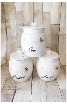 Tea Coffee Sugar Canisters, Coffee Jars, Cute Kitchen, Kitchen Canisters, Chalk Paint Dining Table, Kilner Jars, Tea Jar, Painted Jars, Kitchen Themes