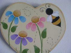 Summertime Heart bee flowers wall hanging handpainted by loisling