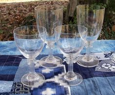 Singing Crystal Pedestal Glasses Two Pair by AntiquesandVaria, $48.20