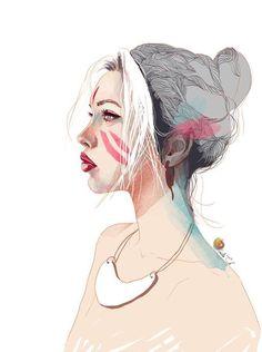 LOVE this digital painting 'Ksenia' by Nadiia Cherkasova