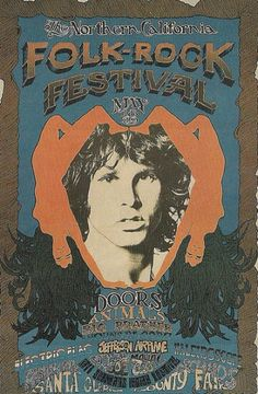 The Doors, The Animals, Big Brother and the Holding Co, and Jefferson Airplane at the North California Folk Rock Festival, Santa Clara, CA, May 18 & 19, 1968. Poster by Carson-Morris Studios |