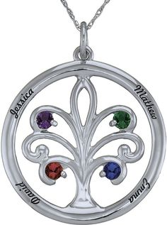 JCPenney FINE JEWELRY Personalized 10K White Gold Family Tree Birthstone Pendant Necklace