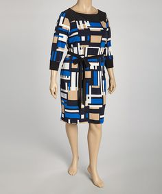 Take a look at this Tiana B Blue & Black Geometric Belted Dress - Plus on zulily today!
