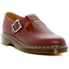 Dr. Martens Polley Mary Jane Flat (€66) ❤ liked on Polyvore featuring shoes, flats, cherry red, leather mary jane shoes, mary jane flats, leather flat shoes, leather flats and dr martens shoes