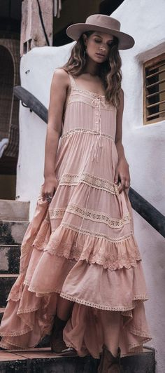 #summer ##fashion #lovely #outfits |  Dusty Pink Boho Maxi Dress